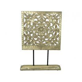 KERSTEN - Dekorace na podstavci (ruční práce), dřevo, zlatá patina, 55x8x38cm