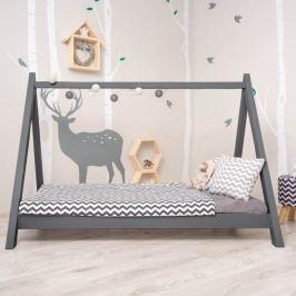 Montessori postel, borovicové dřevo, šedá, GROSI
