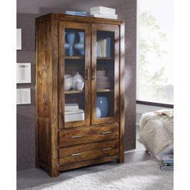 Masiv24 - Sheesham  vitrína, masivní palisandrové dřevo DAKOTA
