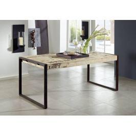 Masiv24 - FABRICA jídelní stůl, 120x70 litina a mangové dřevo, potisk