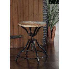 Masiv24 - INDUSTRY židle/-taburet, litina a staré dřevo