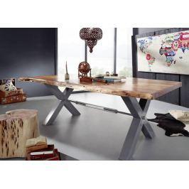 Masiv24 - DARKNESS Jídelní stůl 260x110cm X-nohy – stříbrná