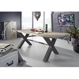 Masiv24 - DARKNESS Jedálenský stôl 200x100 cm X-nohy - sivá, prírodná