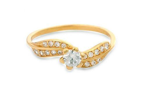 Brilio Zlatý prsten s krystaly 229 001 00509 - 1,45 g (Obvod 52 mm) zlato žluté 585/1000 Prsteny