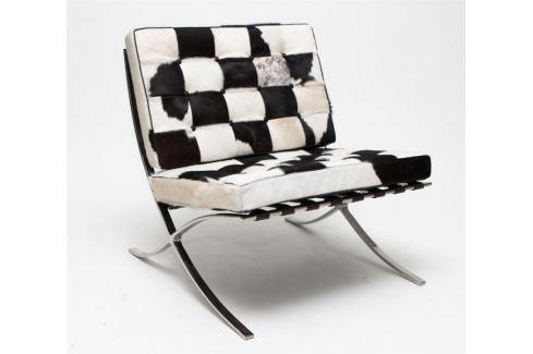 Mørtens Furniture Luxusní křeslo Xtreme kožešina, černá/bílá Křesla, taburety