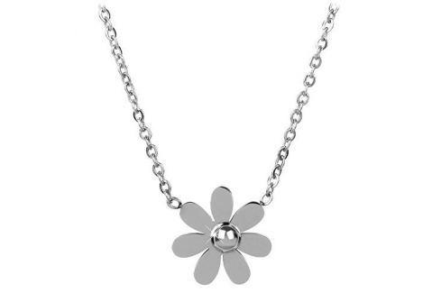 Troli Ocelový náhrdelník s kytičkou Náhrdelníky