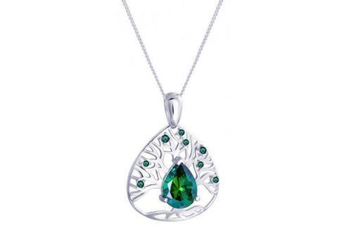 Preciosa Stříbrný náhrdelník se zirkony Green Tree of Life 5220 66 stříbro 925/1000 Náhrdelníky