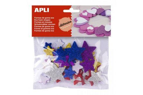 Pěnovka APLI tvarová samol. třpytky hvězdy/50 ks Kreativní pomůcky