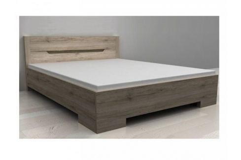 BOX postel 160 x 200 cm se šuplíkem, dub sonoma tmavý Postele