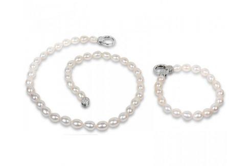 JwL Luxury Pearls Souprava náhrdelníku a náramku z pravých bílých perel JL0138 stříbro 925/1000 Soupravy šperků