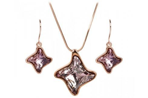 Troli Bronzová sada náhrdelníku a náušnic Twister Antique Pink Soupravy šperků