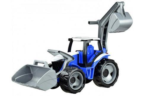 LENA Traktor se lžící a bagrem modro šedý Auta
