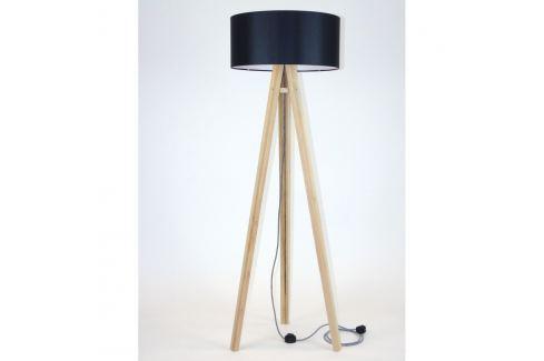 Stojací lampa s černým stínítkem a černo-bílým kabelem Ragaba Wanda Volně stojící lampy
