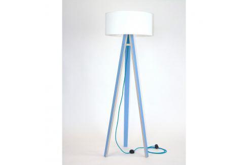 Modrá stojací lampa s bílým stínítkem a tyrkysovým kabelem Ragaba Wanda Volně stojící lampy