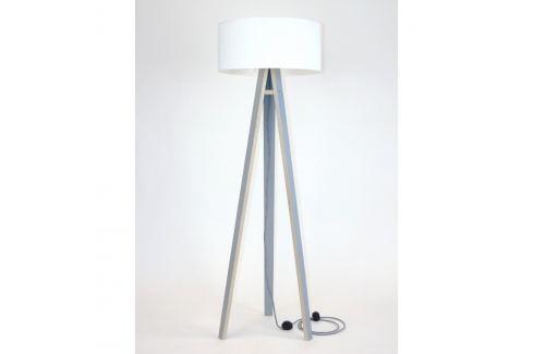 Šedá stojací lampa s bílým stínítkem a černo-bílým kabelem Ragaba Wanda Volně stojící lampy