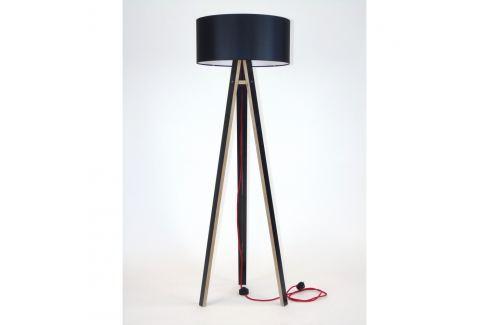 Černá stojací lampa s černým stínítkem a červeným kabelem Ragaba Wanda Volně stojící lampy
