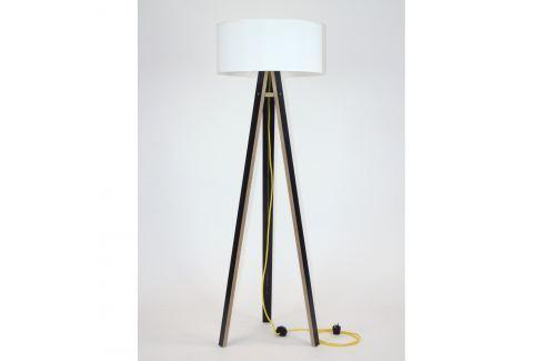 Černá stojací lampa s bílým stínítkem a žlutým kabelem Ragaba Wanda Volně stojící lampy