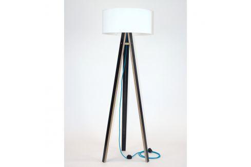 Černá stojací lampa s bílým stínítkem a tyrkysovým kabelem Ragaba Wanda Volně stojící lampy
